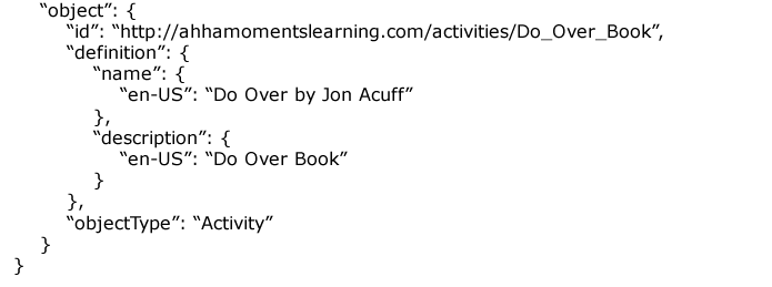 the object portion of a xapi activity statement