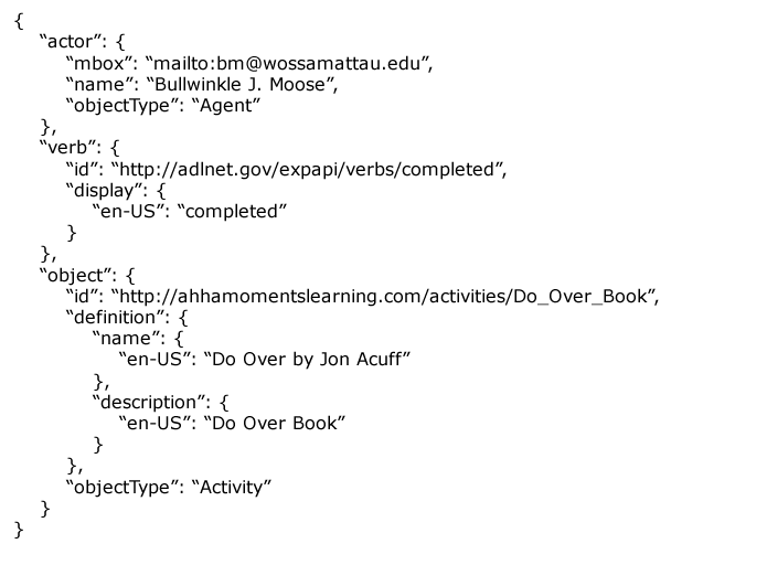 a complete simple activity statement for xapi