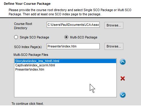 Simple SCORM Packager Define Package