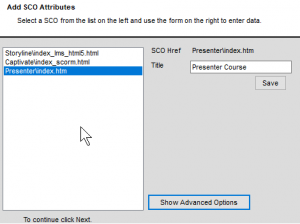 Simple SCORM Packager SCO Attributes screen