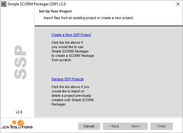 Simple SCORM Packager set up screen