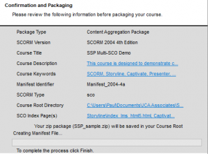 Simple SCORM Packager Summary screen