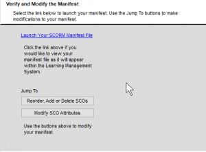 Simple SCORM Packager Verify screen