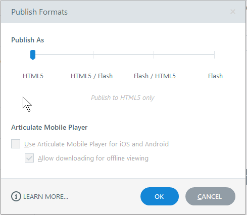 Articulate Storyline publish formats