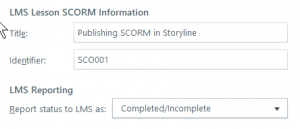 Setting SCO info in Articulate Storyline