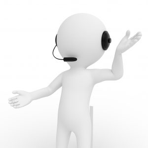 figure with headset on leading a corporate learning webinar