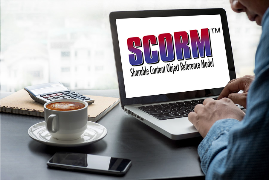 scorm logo on video screen